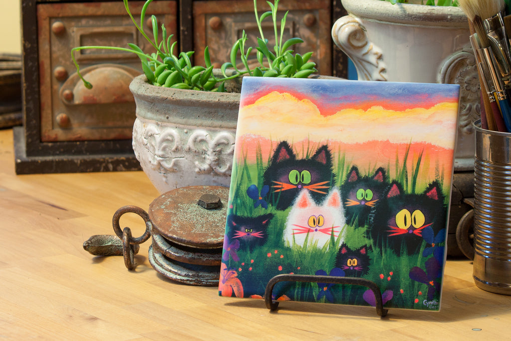 Herd of Kitties - Ceramic Tile - Cranky Cat Collection by Cindy Schmidt