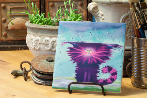 Rainy Day Cat - Ceramic Tile - Cranky Cat Collection™ by Cindy Schmidt