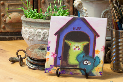 Ruff - Ceramic Tile - Cranky Cat Collection™ by Cindy Schmidt