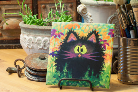 Scaredy Cat in Daisies - Ceramic Tile - Cranky Cat Collection™ by Cindy Schmidt