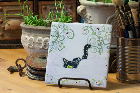 Snowbound Cat - Ceramic Tile - Cranky Cat Collection™ by Cindy Schmidt