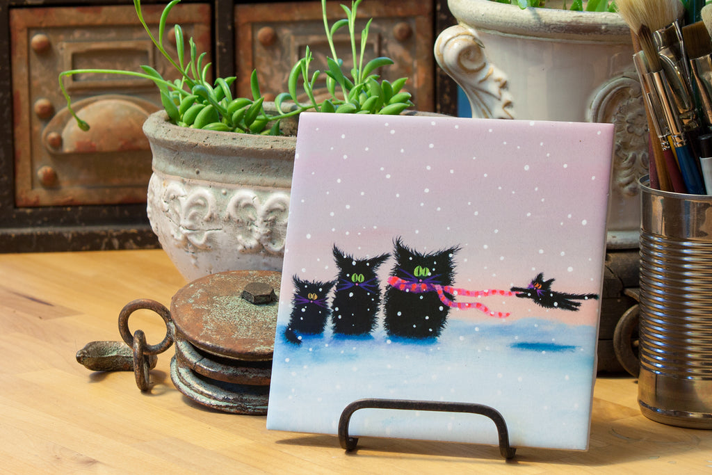 Ceramic Tile - Snow Cats in the Wind - Cranky Cat Collection™ by Cindy Schmidt