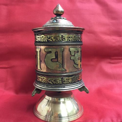Authentic Handmade Tibetan Buddhist BRASS PRAYER WHEEL Table Desktop from Nepal