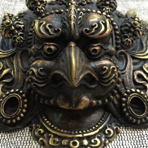 Brass GARUDA Mask Tibetan Buddhist Bronze Handcrafted from Nepal Very Detailed