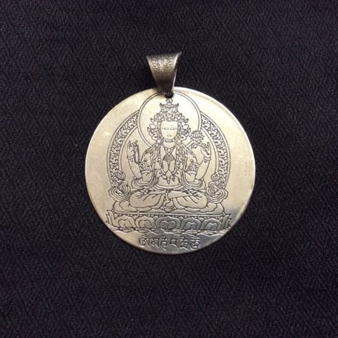 Tibetan Buddhist Prayer Wheel Pendant Sterling Silver 925 Large