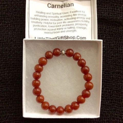 Natural Carnelian Mala Bead Round Gemstone Stretchy Bracelet 9mm 7 INCH US SELLR