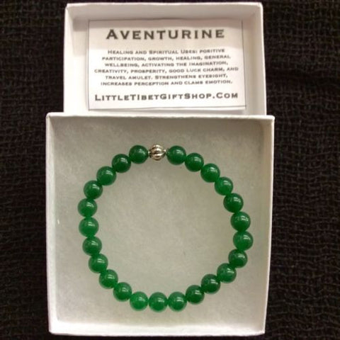 Natural Adventurine Mala Bead Round Gemstone Stretchy Bracelet 9mm 7 INCH