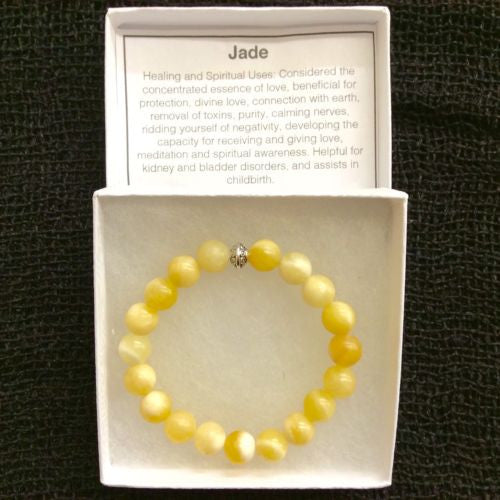 Natural Jade Mala Bead Round Gemstone Stretchy Bracelet 9mm 7 INCH US SELLER