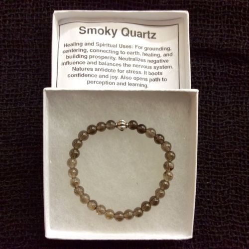Natural Smokey Quartz Mala Bead Round Gemstone Stretchy Bracelet 9mm 7 INCH