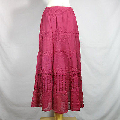 Beautiful Ladies Silk and Viscose Layered Lace Skirt from India Fuschia