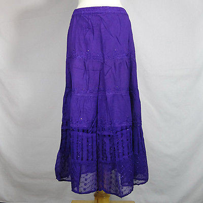 Beautiful Ladies Silk and Viscose Layered Lace Skirt from India Purple