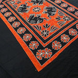 Four Indian Elephants Tapestry Wallhanging Bedsheet Cotton Orange 54 x 82