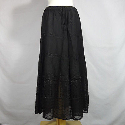 Beautiful Ladies Silk and Viscose Layered Lace Skirt from India Black