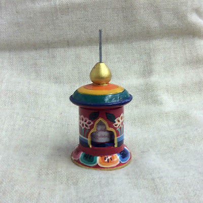 Colorful Handmade Tibetan Buddhist Wood PRAYER WHEEL Table Desktop from Nepal SM