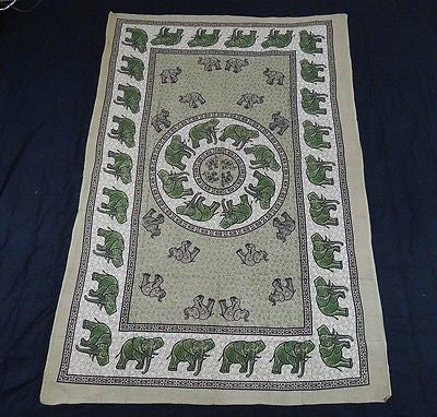 INDIAN ELEPHANT TAPESTRY BED SHEET BED SPREAD WALLHANGING COTTON 82 x 54 GREEN