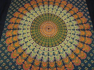 INDIAN PEACOCK MANDALA TAPESTRY BEDSHEET WALLHANGING COTTON 52 x 78 GREEN