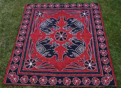 Four Indian Elephants Tapestry Wallhanging Bedsheet Blanket Queen Cotton Red