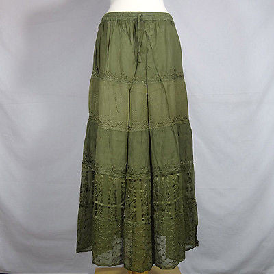 Beautiful Ladies Silk and Viscose Layered Lace Skirt from India Olive Green