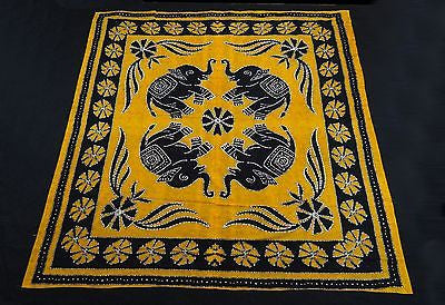 Four Indian Elephants Tapestry Wallhanging Bedsheet Cotton Queen Mustard Yellow