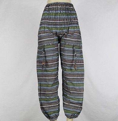 Striped Baggy Indian Aladdin Genie Yoga Harem Pants Ladies Boho Pants Green
