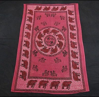 INDIAN ELEPHANT TAPESTRY BED SHEET  WALLHANGING COTTON 54 x 82 FUSCHIA