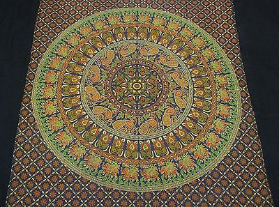 INDIAN ELEPHANT PEACOCK TAPESTRY BEDSHEET WALLHANGING COTTON 52 x 78 GREEN