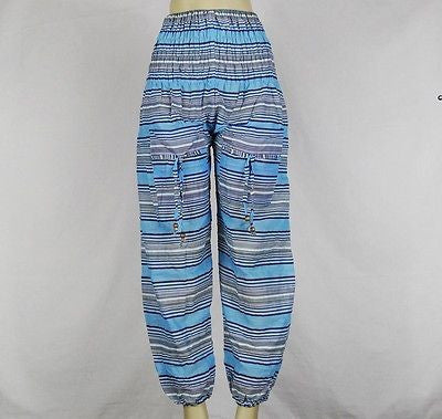 Striped Baggy Indian Aladdin Genie Yoga Harem Pants Ladies Boho Pants Blue