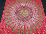 INDIAN PEACOCK MANDALA TAPESTRY BEDSHEET WALLHANGING COTTON 52 x 78 RED