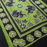 Four Indian Elephants Tapestry Wallhanging Bedsheet Cotton Green 54 x 82