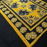 Four Indian Elephants Tapestry Wallhanging Bedsheet Cotton Yellow 54 x 82