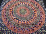 ROYAL INDIAN PEACOCK ELEPHANT TAPESTRY BED SHEET WALLHANGING QUEEN COTTON BLUE 3