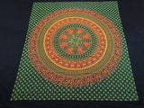 INDIAN PARROT PEACOCK ELEPHANT TAPESTRY BED SHEET WALLHANGING QUEEN COTTON GREEN
