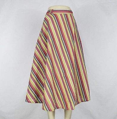 Striped Cool Comfortable Summer Wrap Around Skirt India Cotton Yellow Pink