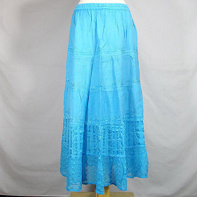 Beautiful Ladies Silk and Viscose Layered Lace Skirt from India Turquoise