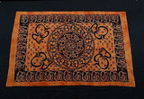 OM AUM MANDALA TAPESTRY BED SHEET BED SPREAD WALLHANGING COTTON 82 x 54 ORANGE