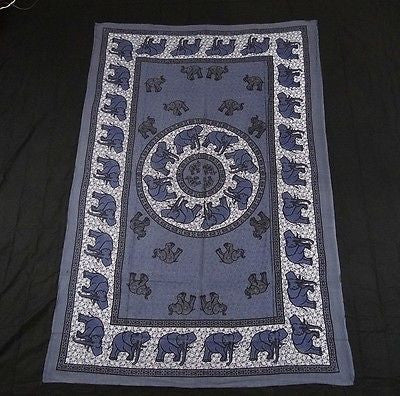 INDIAN ELEPHANT TAPESTRY BED SHEET BED SPREAD WALLHANGING COTTON 82 x 54 BLUE