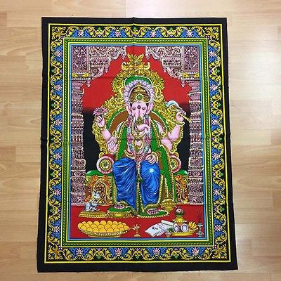GANESH GANESHA Hindu God Sequin Batik Wall Hanging Cotton Batik Tapestry LARGE