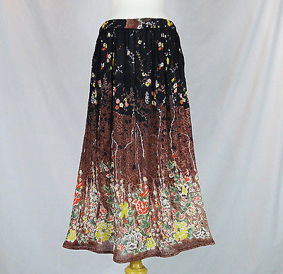 Floral Indian Ladies Boho Hippie Long Skirt Rayon Black and Brown