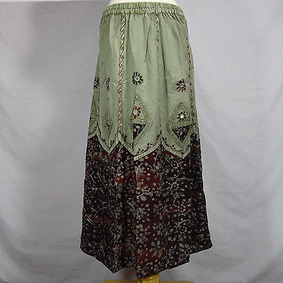 Traditional Indian Rayon Skirt with Batik dot pattern Black and Green