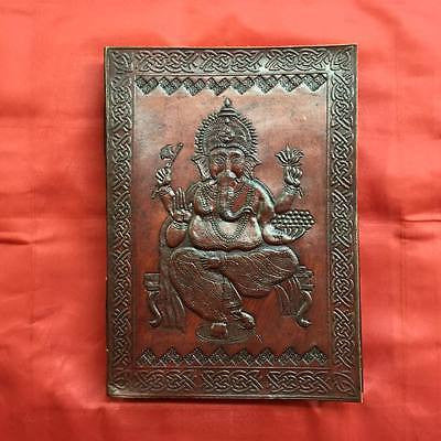Ganesh Embossed on X-LARGE Leather Bound Handmade Paper Journal Diary Note Book