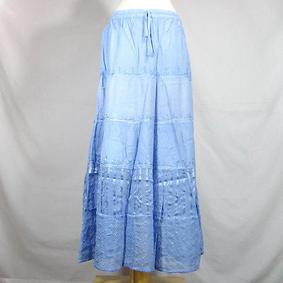 Beautiful Ladies Silk and Viscose Layered Lace Skirt from India Sky Blue