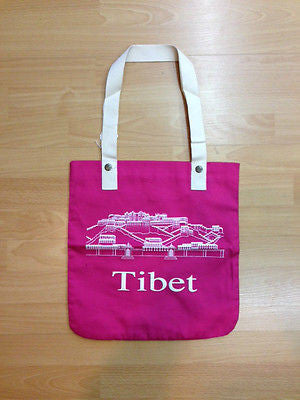 TIBET TOTE BAG Made by Tibetan Refugees Cotton Pink
