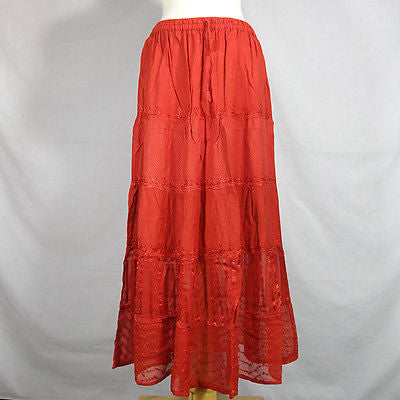 Beautiful Ladies Silk and Viscose Layered Lace Skirt from India Red