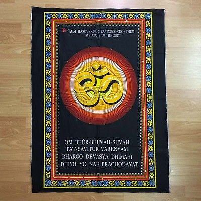 OM AUM Hindu Buddhist Sequin Batik Wall Hanging Cotton Batik Tapestry MEDIUM