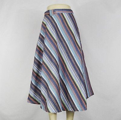 Striped Cool Comfortable Summer Wrap Around Skirt India Cotton Blue