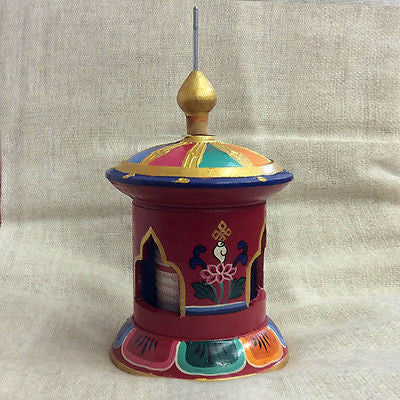 Colorful Handmade Tibetan Buddhist Wood PRAYER WHEEL Table Desktop from Nepal LG