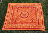 INDIAN SUNFLOWER TAPESTRY BED SHEET BED COVER WALLHANGING COTTON ORANGE