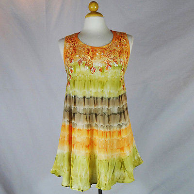 Ladies Hippie Boho Shirt Top Sleeveless Crew Neck Tye Dye HANDMADE INDIA