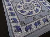 ROYAL INDIAN ELEPHANT TAPESTRY BED SHEET BED SPREAD WALLHANGING QUEEN BLUE