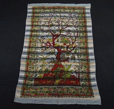 Tree Of Life Indian Tapestry Wallhanging Bed sheet Cotton GRAY 58 x 86 Inches
